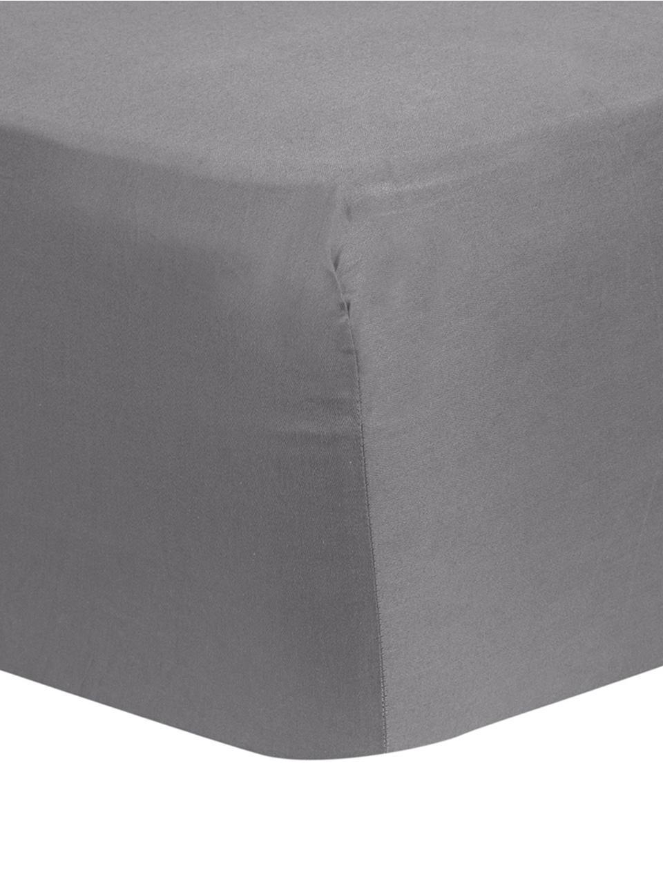 Spannbettlaken Comfort in Dunkelgrau, Baumwollsatin, Webart: Satin, leicht glänzend, Dunkelgrau, 180 x 200 cm