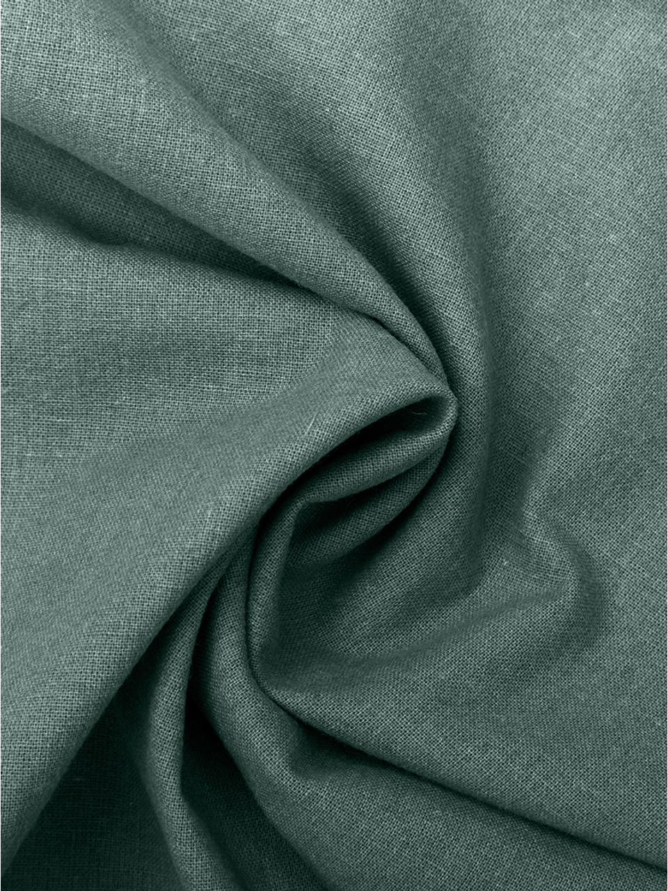 Gewaschene Baumwoll-Bettwäsche Arlene in Dunkelgrün, Webart: Renforcé Fadendichte 144 , Dunkelgrün, 155 x 220 cm + 1 Kissen 80 x 80 cm