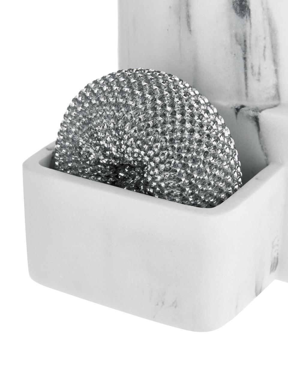Seifenspender Galia in Weiß, 3er-Set, Metallschwamm: Metall, Weiß, Silberfarben, Schwarz, 24 x 12 cm