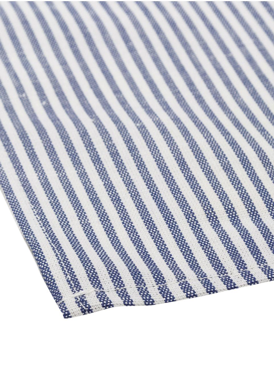 Serwetka z tkaniny Streifen, Biały, niebieski, S 45 x D 45 cm