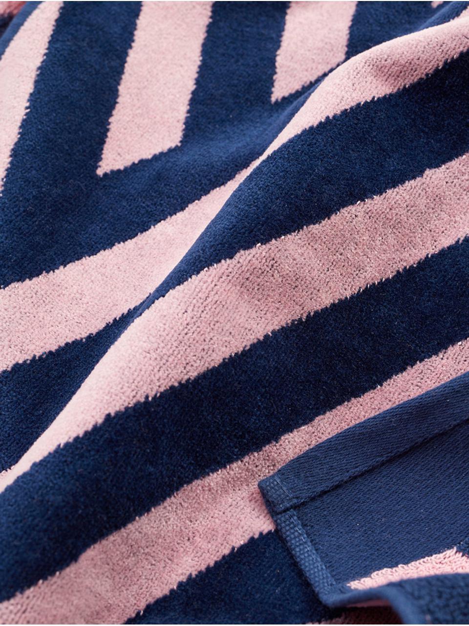 Ręcznik plażowy Bonsall, Ciemny niebieski, różowy, S 80 x D 180 cm