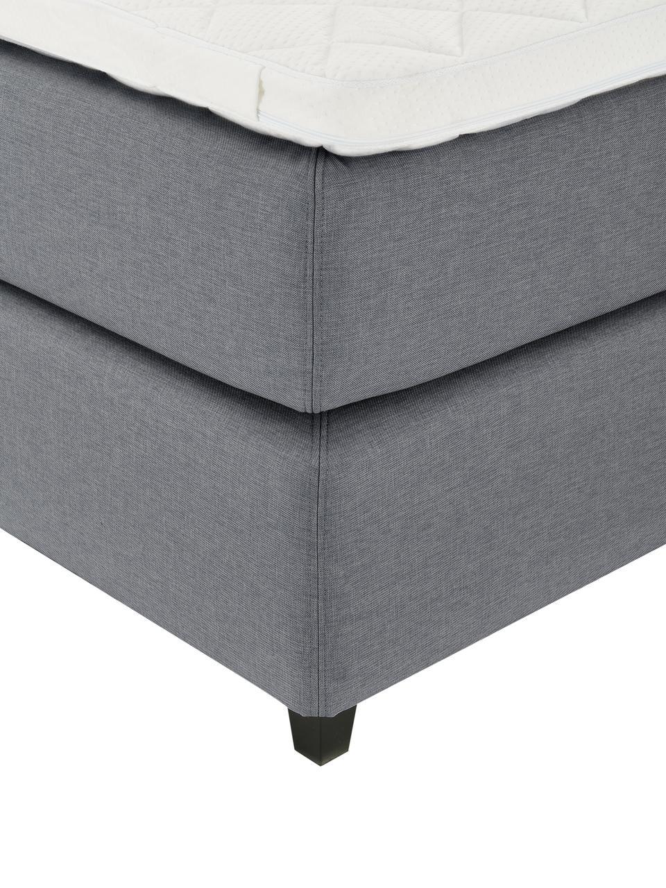 Premium Boxspringbett Royal in Grau, Matratze: 5-Zonen-Taschenfederkern, Füße: Massives Birkenholz, lack, Stoff Grau, 200 x 200 cm