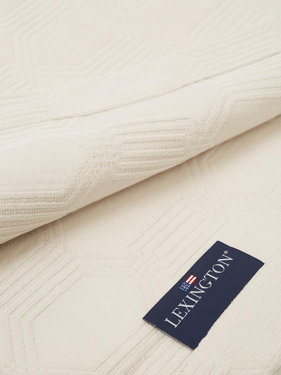 Samt-Tagesdecke Jacky in Offwhite, Webart: Jacquard, Gebrochenes Weiß, 160 x 240 cm