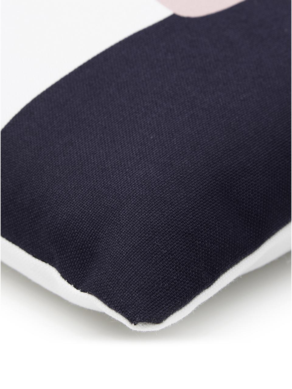 Kissenhülle Line mit geometrischen Formen, Webart: Panama, Weiß, Mehrfarbig, 40 x 40 cm
