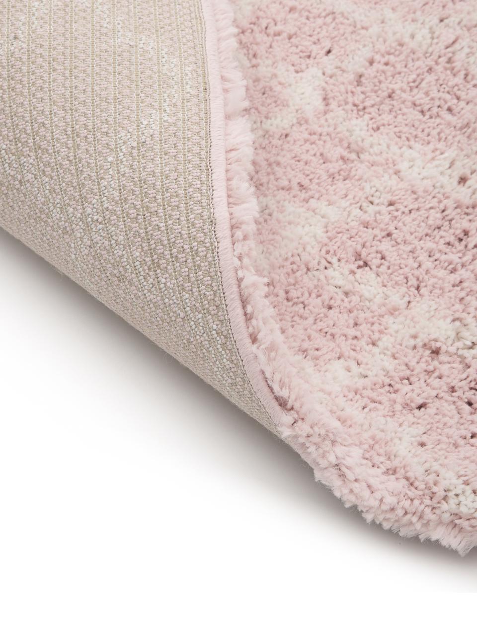 Hoogpolig vloerkleed Mona in oudroze/crèmewit, Bovenzijde: 100% polypropyleen, Onderzijde: 78% jute, 14% katoen, 8% , Oudroze, crèmewit, B 300 x L 400 cm (Maat XL)