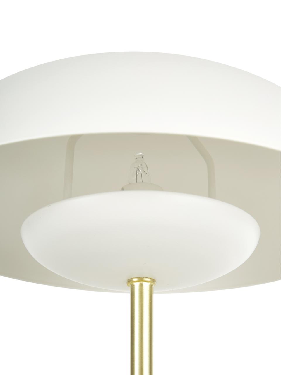 Tafellamp Mathea, Lampenkap: gepoedercoat metaal, Lampvoet: vermessingd metaal, Wit, messingkleurig, Ø 23 x H 36 cm