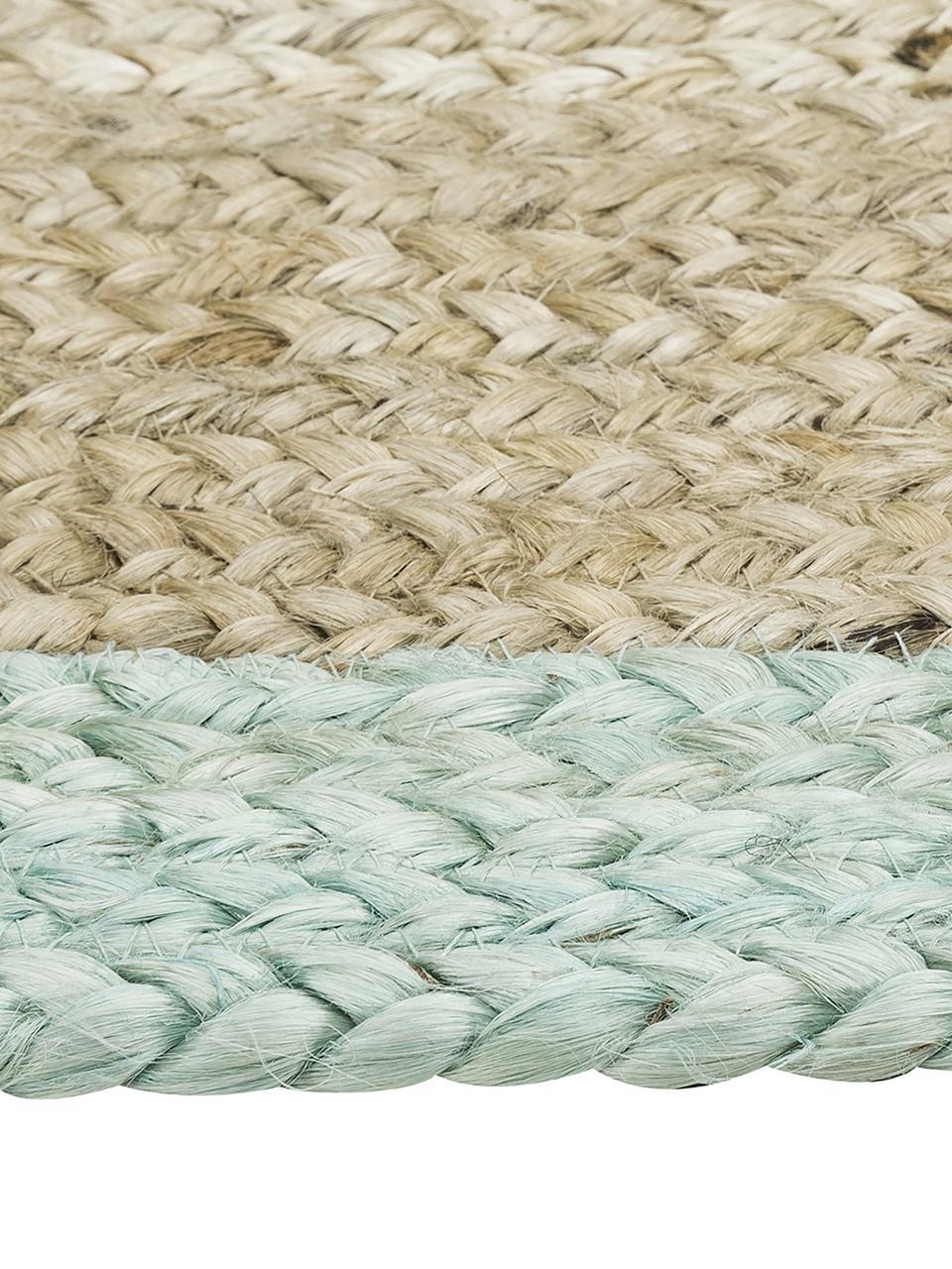 Handgefertigter Jute-Teppich Shanta mit mintgrünem Rand, Jute, Mintgrün, B 160 x L 230 cm (Größe M)