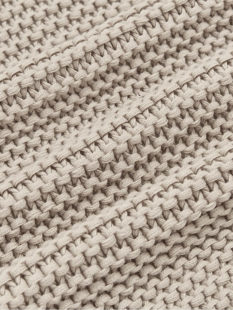 Gebreide plaid Adalyn in beige, 100% katoen, Beige, 150 x 200 cm