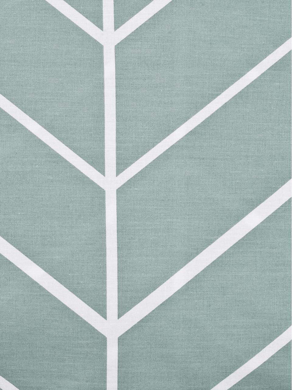 Pościel z bawełny renforcé Mirja, Zielony, kremowobiały, 155 x 220 cm