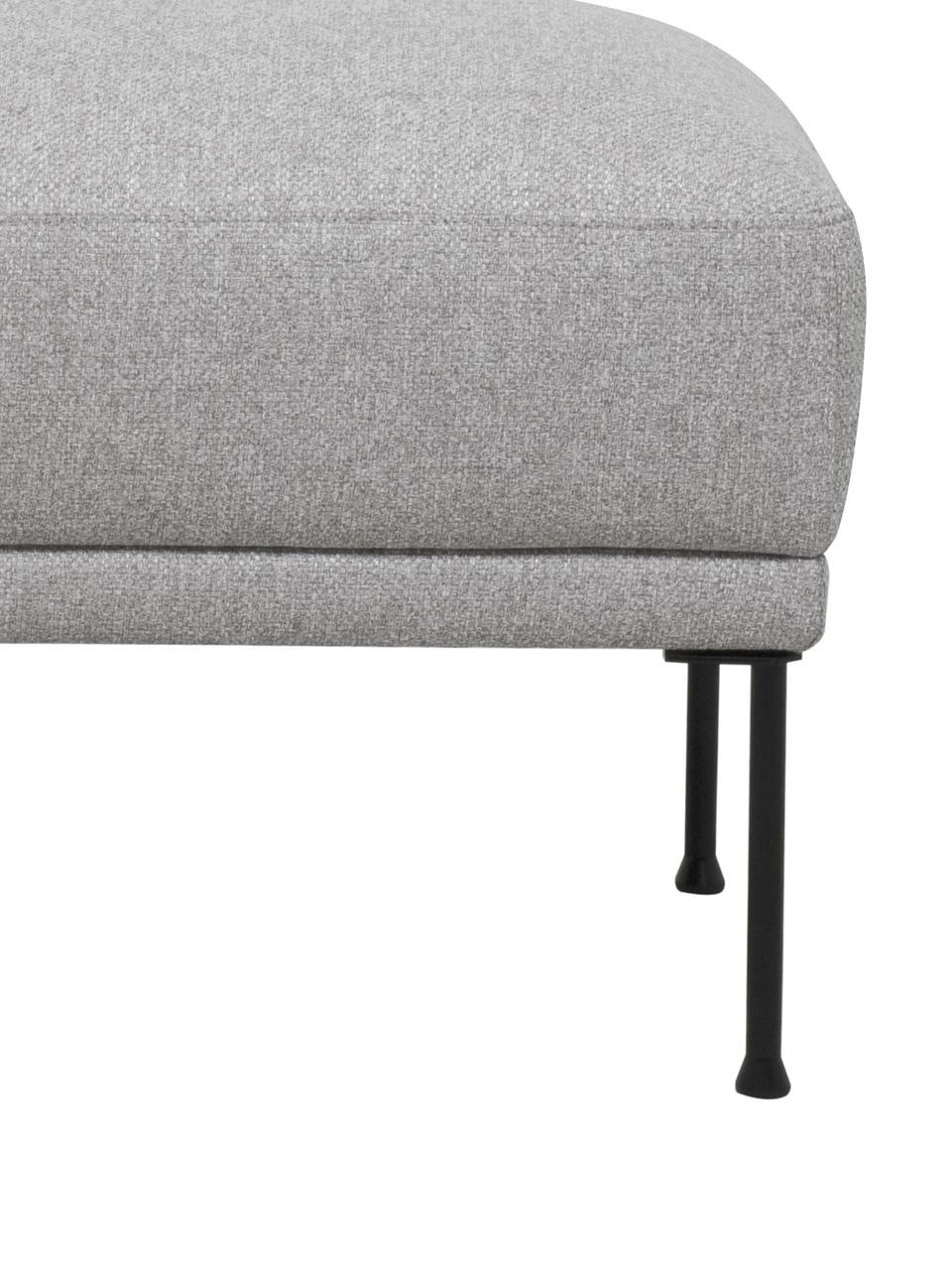 Sofa-Hocker Fluente, Bezug: 80% Polyester, 20% Ramie , Gestell: Massives Kiefernholz, Füße: Metall, pulverbeschichtet, Webstoff Hellgrau, 62 x 46 cm