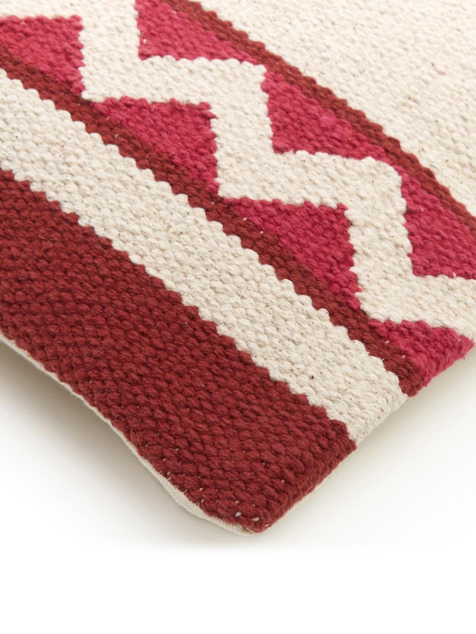 Federa arredo con motivo etnico Tuca, 100% cotone, Beige, rosso chiaro, rosso scuro, Larg. 45 x Lung. 45 cm