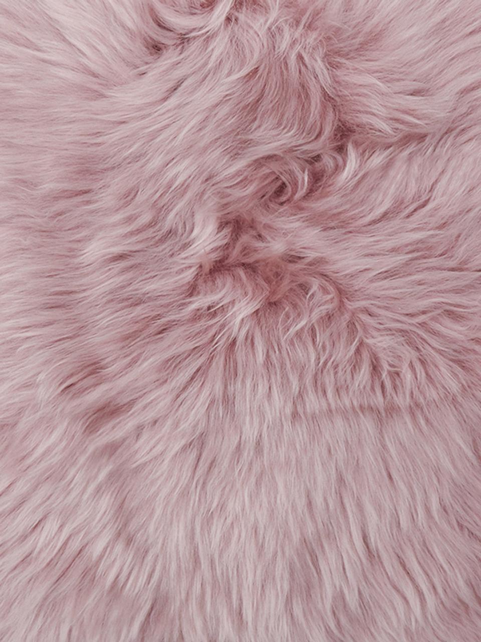 Federa arredo in pelliccia di pecora rosa Oslo, Retro: lino, Fronte: rosa Retro: grigio chiaro, Larg. 30 x Lung. 50 cm