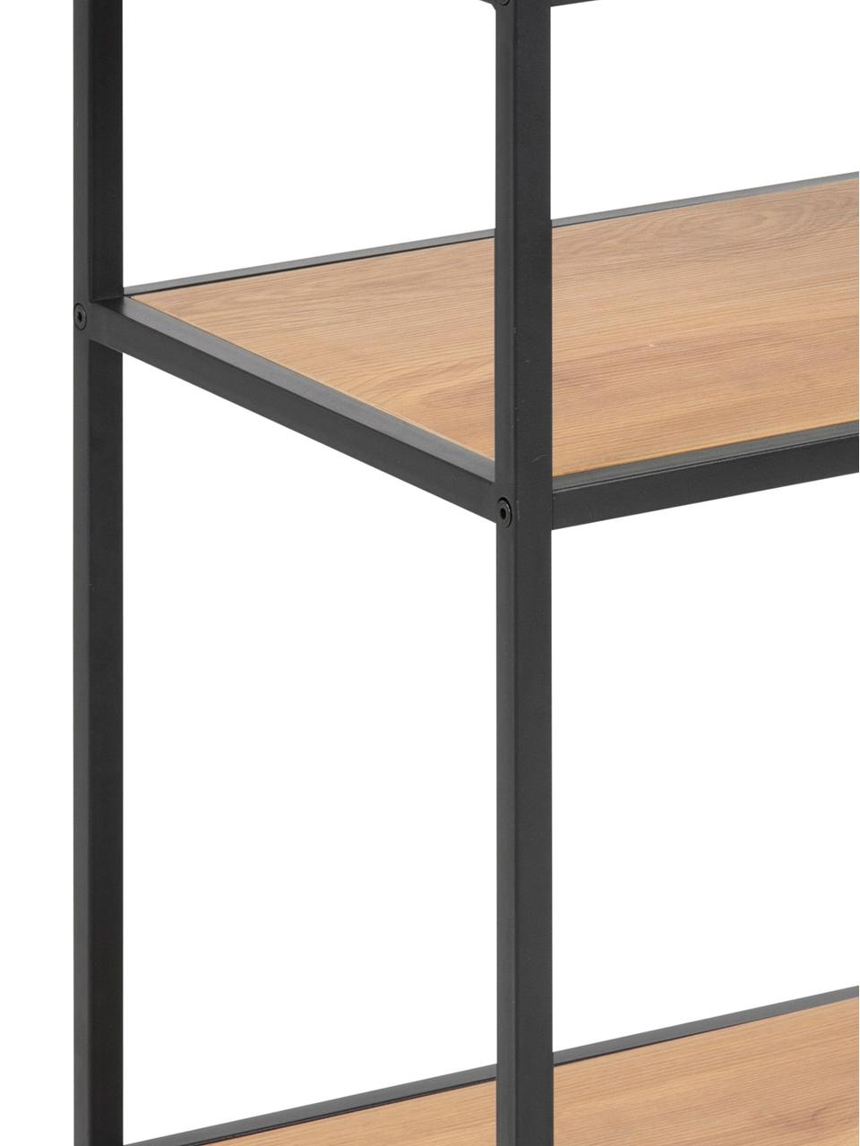 Tavolino con piani effetto legno Seaford, Struttura: metallo verniciato a polv, Quercia selvatica, nero, Larg. 42 x Prof. 35 cm