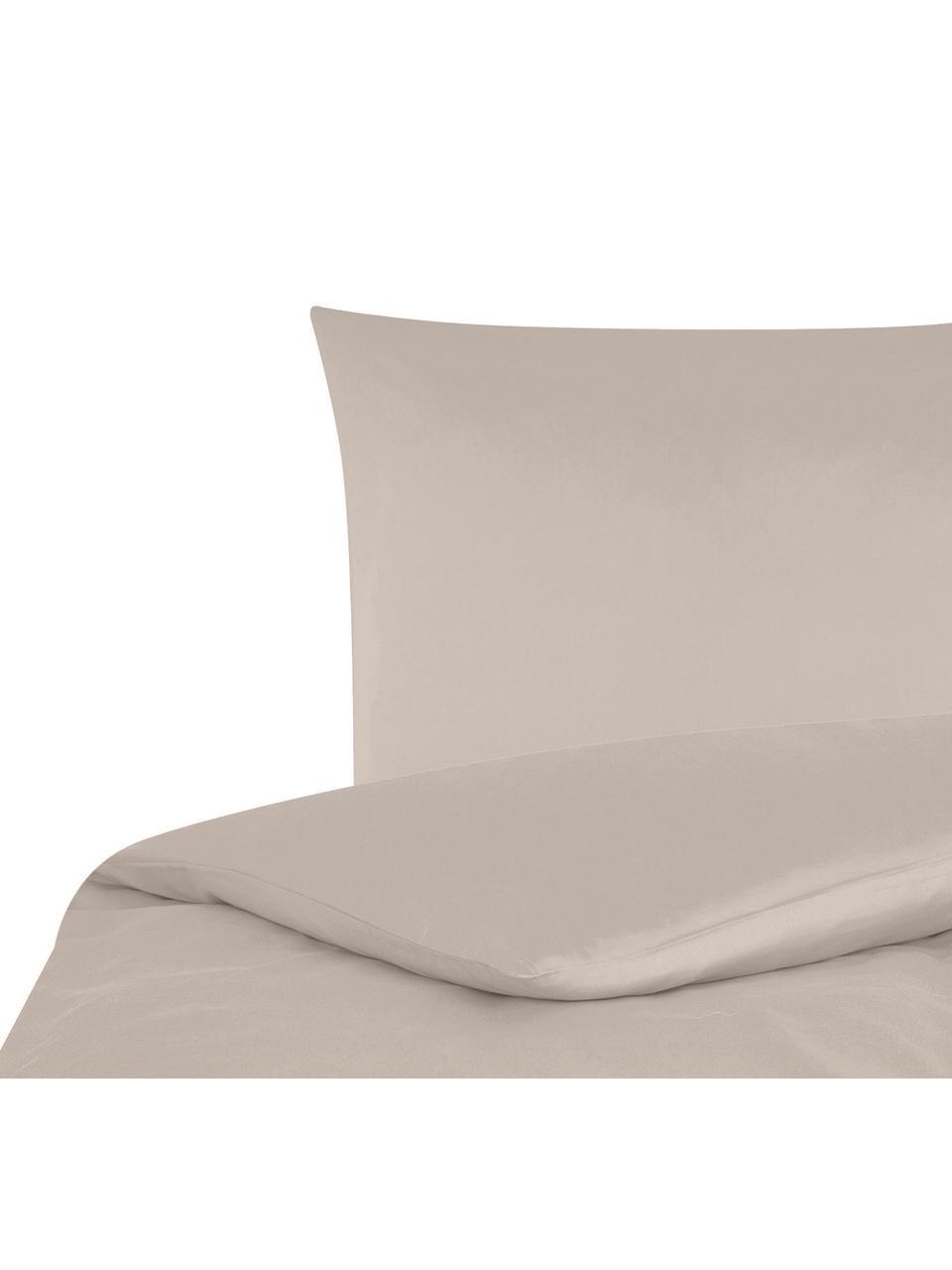 Pościel z satyny bawełnianej Comfort, Taupe, 155 x 220 cm