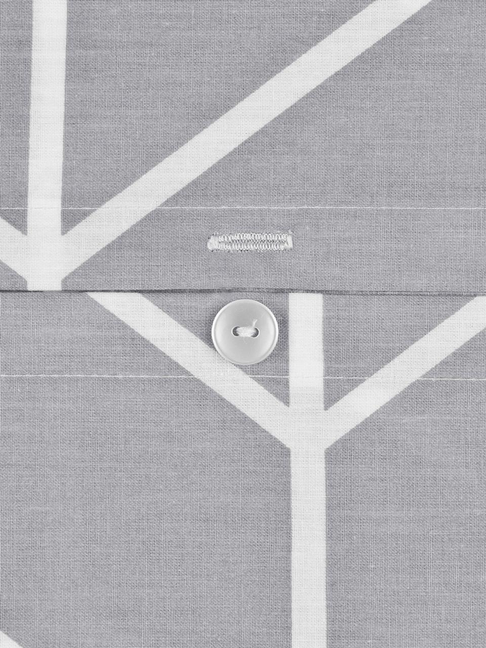 Baumwoll-Kissenbezüge Mirja mit grafischem Muster, 2 Stück, Webart: Renforcé Fadendichte 144 , Grau, Cremeweiß, 40 x 80 cm