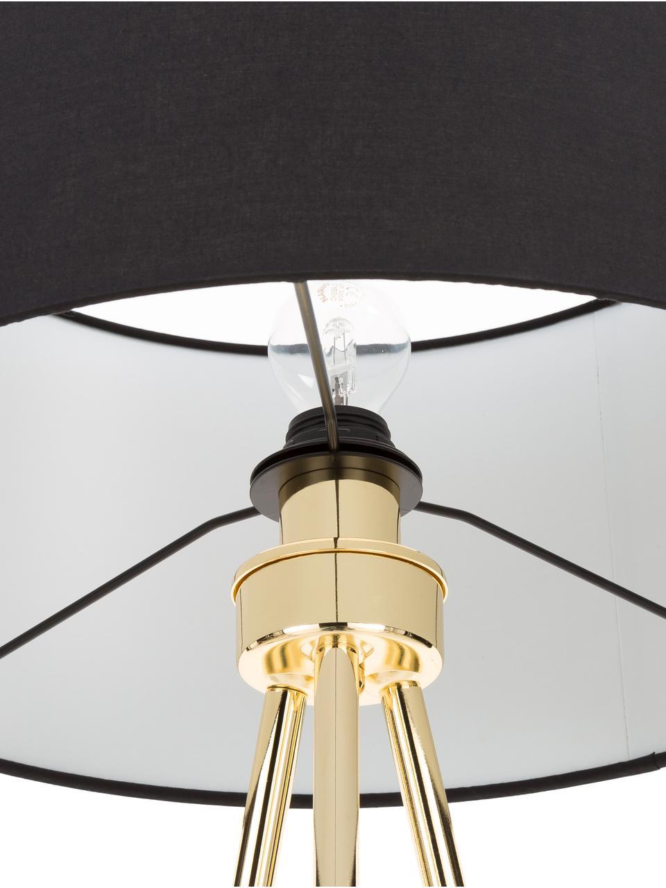 Tripod Stehlampe Cella mit Stoffschirm, Lampenschirm: Baumwollgemisch, Lampenfuß: Metall, Schwarz, Goldfarben, Ø 45 x H 147 cm