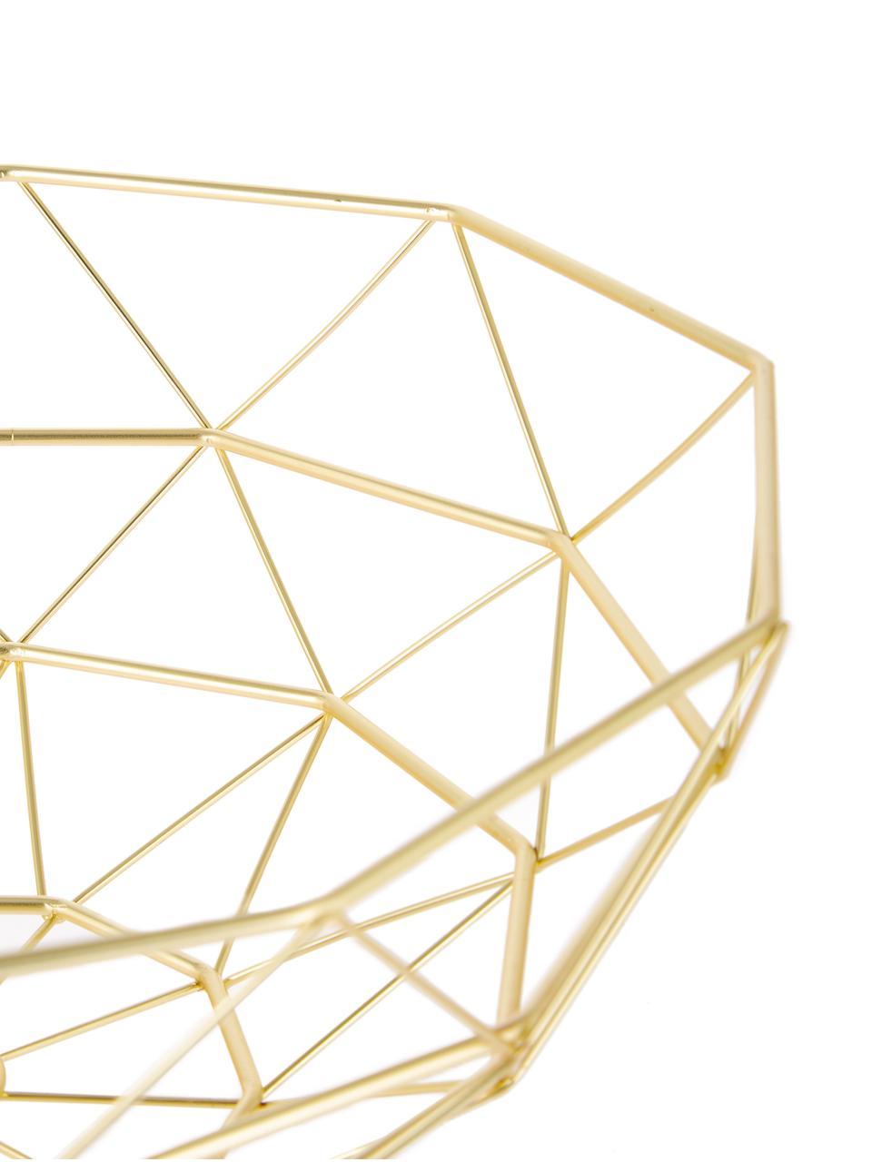 Opbergmand Diamond Cut goudkleur, Metaal, Mat goudkleurig, Ø 35 x H 13 cm