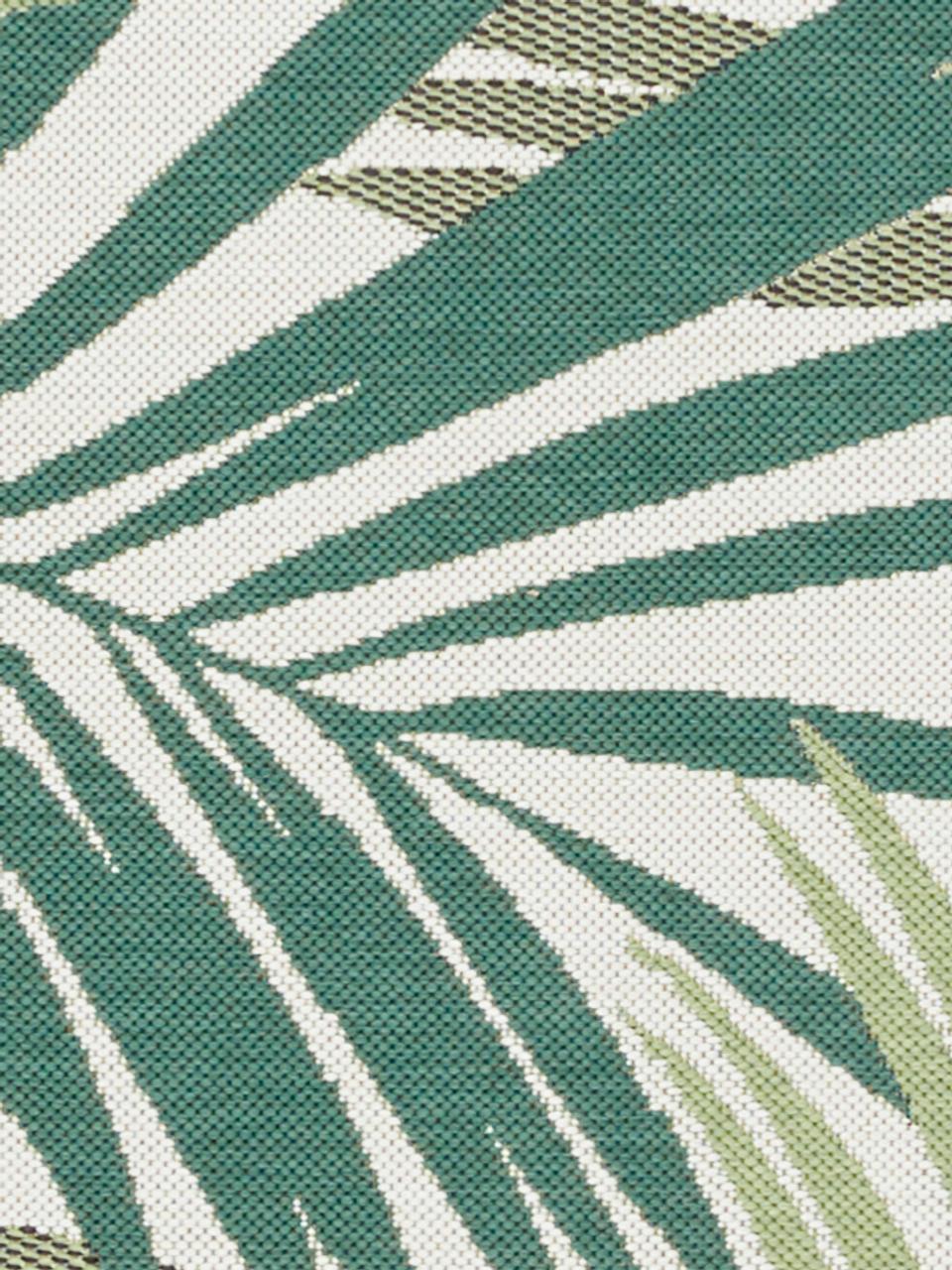 Tapis intérieur-extérieur motif feuilles Vai, Tons verts, beige