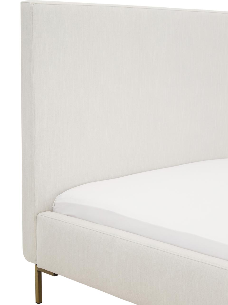 Letto imbottito in tessuto beige Peace, Piedini: metallo verniciato a polv, Rivestimento: velluto di poliestere 290, Tessuto beige, 200 x 200 cm