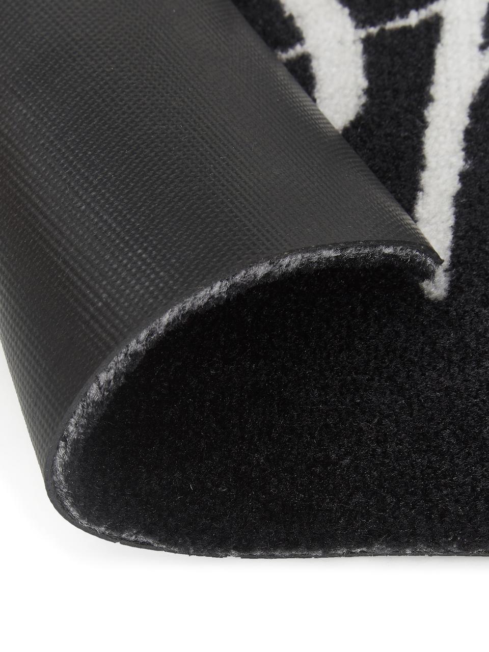 Waschbare Polyamid-Fußmatte Hereinspaziert, Unterseite: Gummi, Schwarz, Weiß, 45 x 75 cm