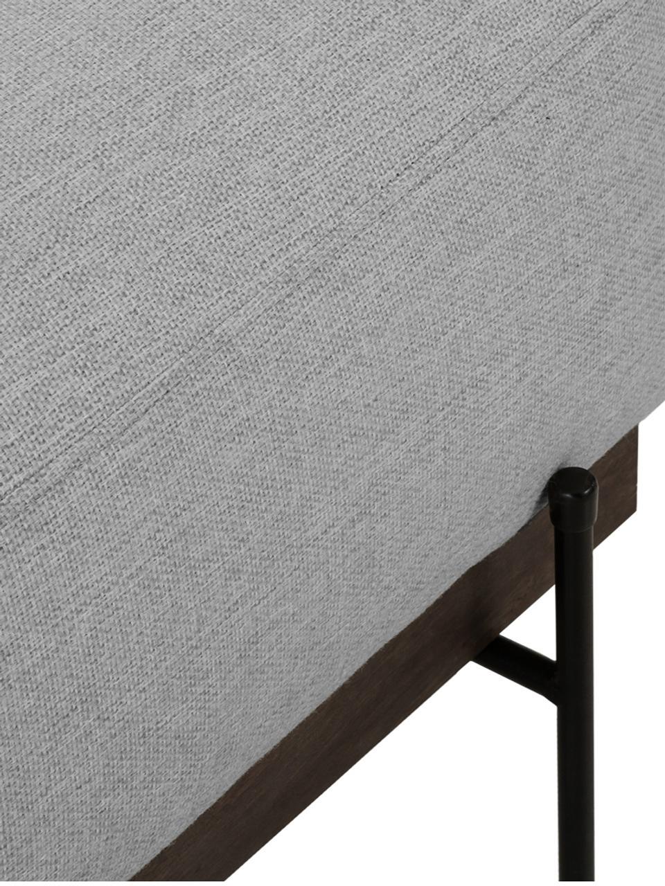 Sofa-Hocker Brooks in Grau mit Metall-Füßen, Bezug: Polyester 35.000 Scheuert, Gestell: Kiefernholz, massiv, Rahmen: Kiefernholz, lackiert, Füße: Metall, pulverbeschichtet, Grau, 80 x 43 cm