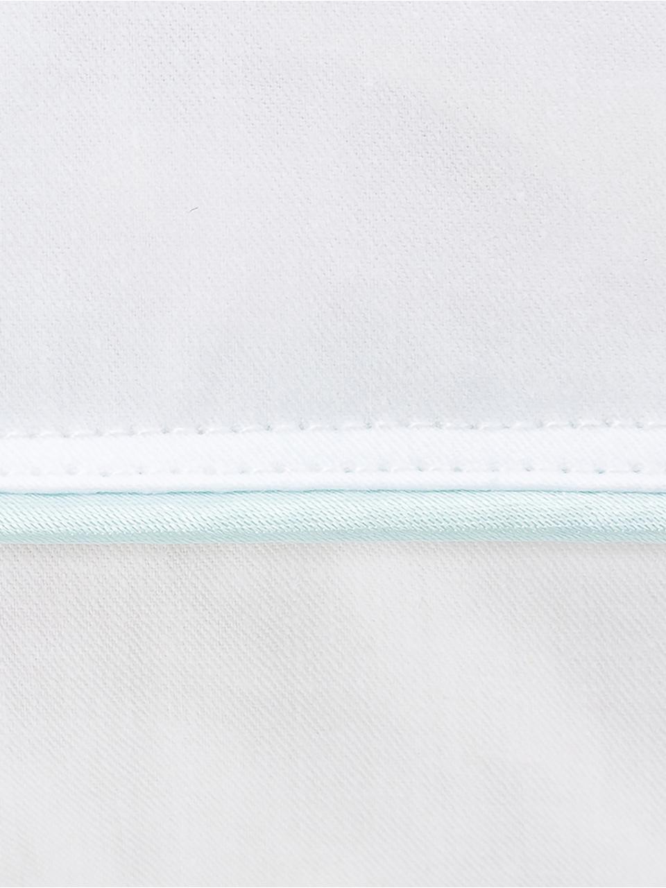 3-Kammer-Kopfkissen Premium, mittel, Außen: Weiße neue Daunen und Fed, Innen: neue Weiße Federn, Klasse, Hülle: 100% Baumwolle, Mako-Fein, Weiß mit türkiser Satinbiese, 80 x 80 cm