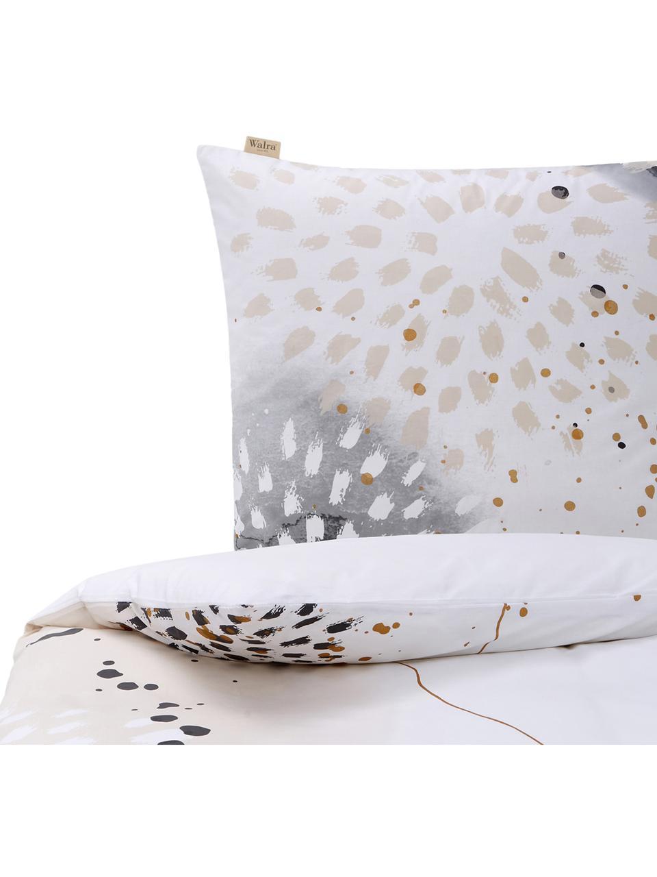 Baumwoll-Bettwäsche Golden Canvas mit Aquarell-Print, Webart: Renforcé Renforcé besteht, Weiß, Grau, Beige, Goldfarben, 155 x 220 cm + 1 Kissen 80 x 80 cm