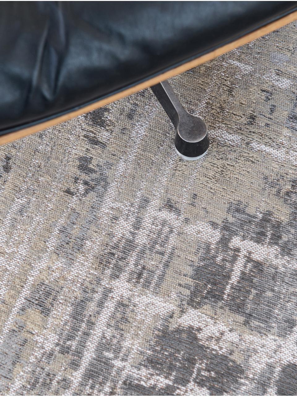 Designteppich Streaks in Grau, Vorderseite: 85%Baumwolle, 15%hochgl, Webart: Jacquard, Rückseite: Baumwollgemisch, latexbes, Grautöne, B 280 x L 360 cm (Größe XL)