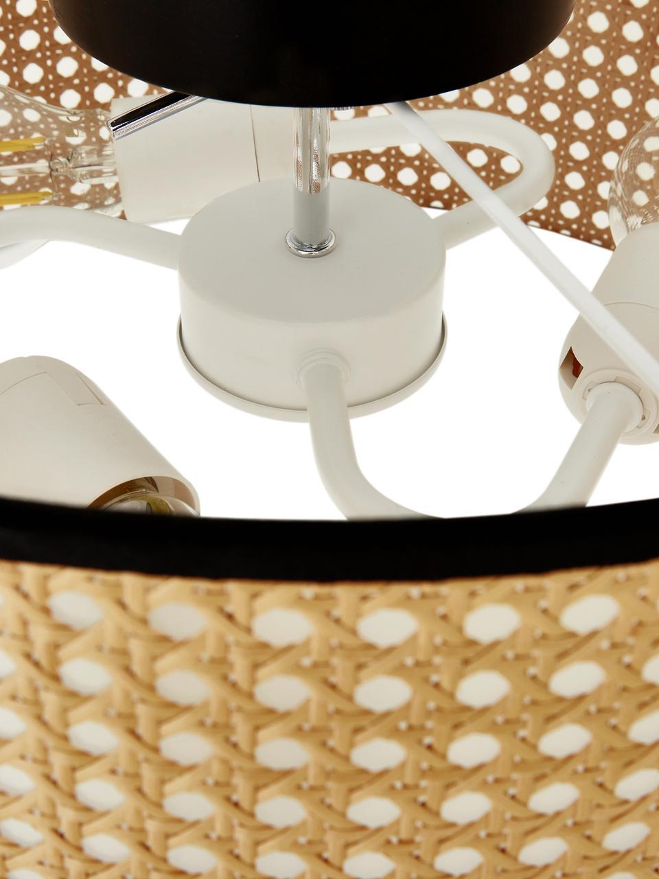 Lampa sufitowa z plecionką wiedeńską Vienna, Klosz: beżowy, czarny Osłona mocowania sufitowego: czarny, matowy, Ø 40 x W 20 cm