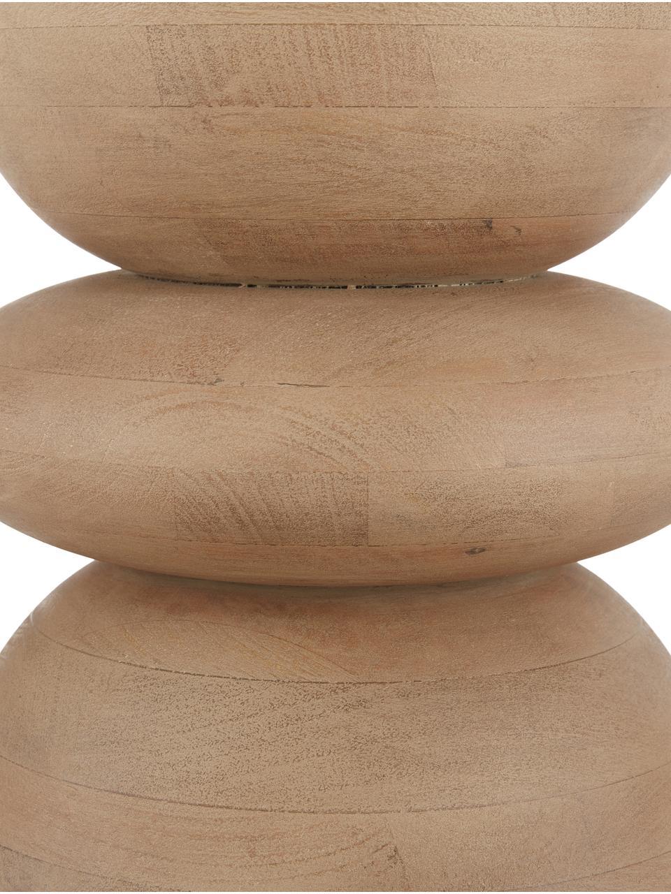 Beistelltisch Benno aus Mangoholz, Massives Mangoholz, lackiert, Mangoholz, grau gewaschen, ∅ 35 x H 50 cm