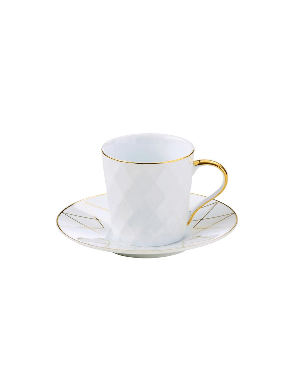 Espressotassen mit Untertassen Lux mit goldenem Dekor, 3 Stück, Porzellan, Weiß, Goldfarben, Ø 12 x H 6 cm