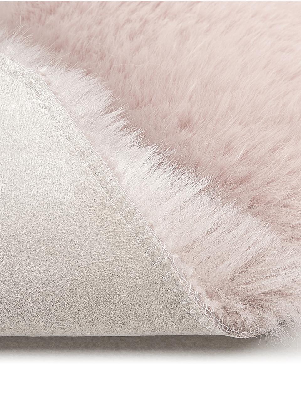 Kunstfell Mathilde, glatt, Vorderseite: 65% Acryl, 35% Polyester, Rückseite: 100% Polyester, Rosa, 60 x 90 cm