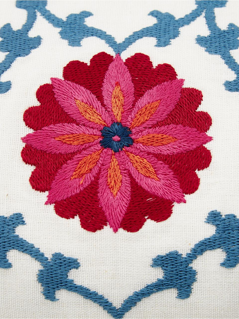 Federa arredo ricamata Tabula, 100% cotone, Bianco crema, multicolore, Larg. 30 x Lung. 50 cm