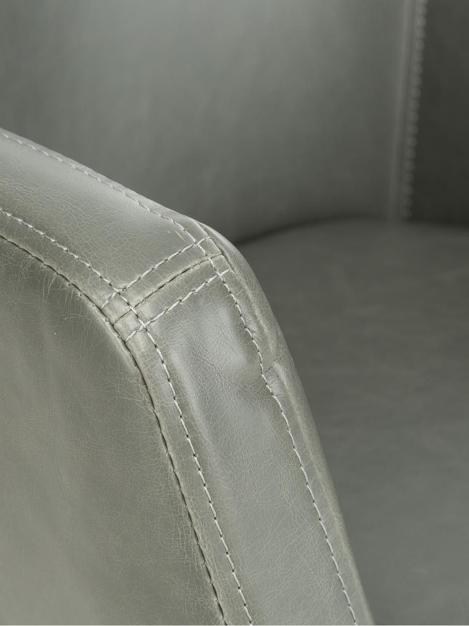 Chaise cuir synthétique Nora, Cuir synthétique gris clair, pieds chêne