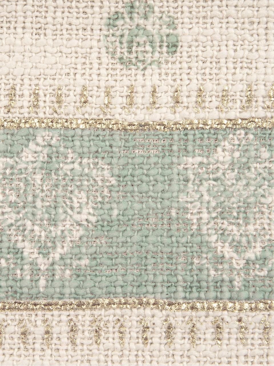 Federa arredo con nappe Jasmine, 100% cotone, Beige, verde menta, dorato, Larg. 30 x Lung. 50 cm