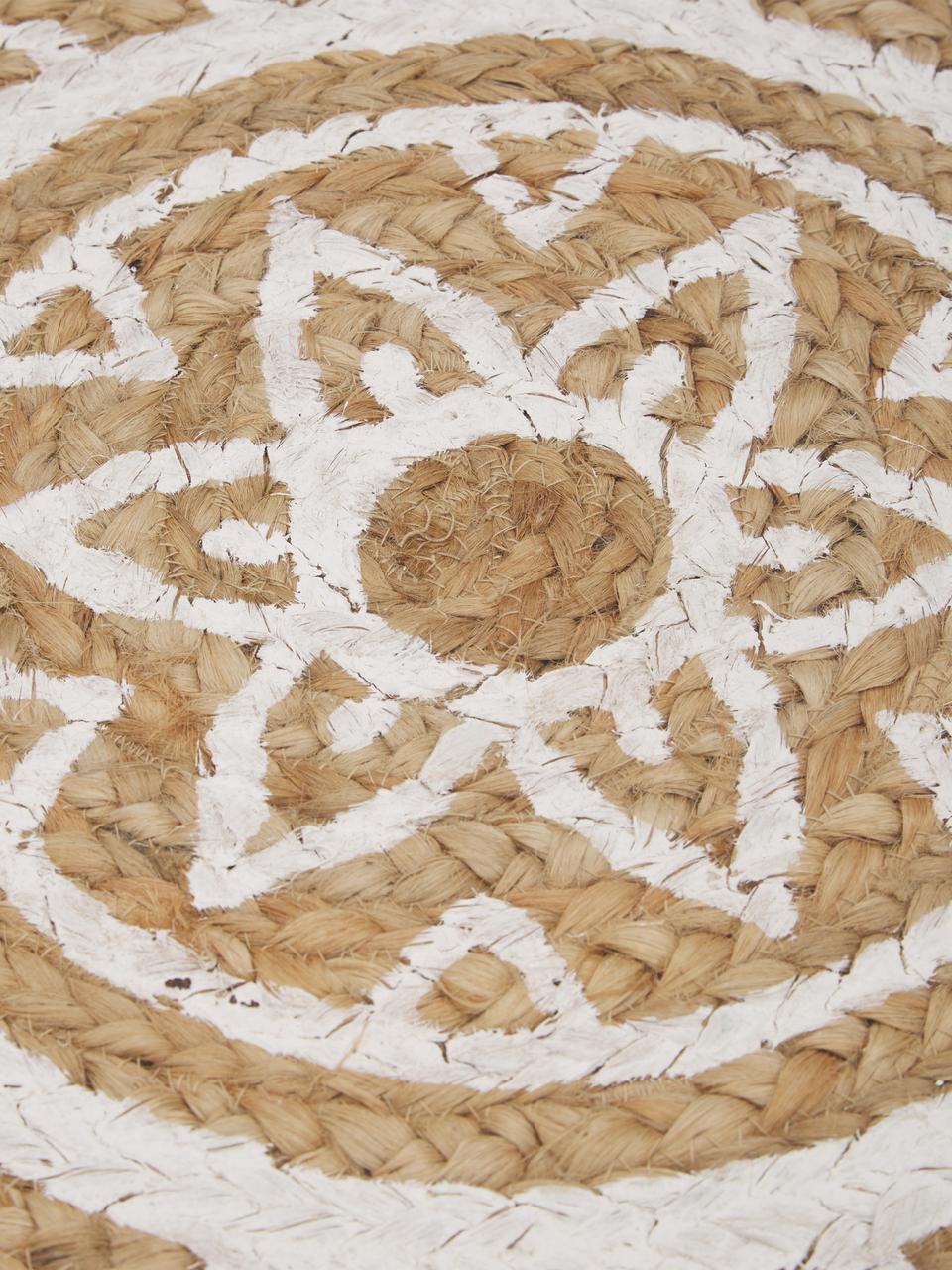 Tappeto in juta fatto a mano Dahlia, Juta, Beige, bianco, Ø 120 cm (taglia S)