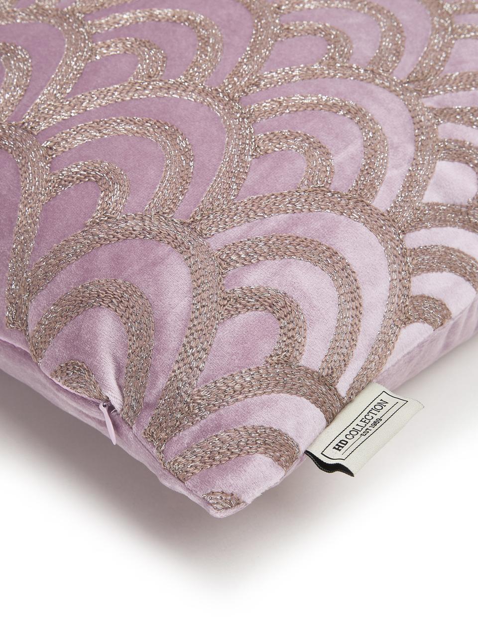 Cuscino con imbottitura in velluto Trole, 100% velluto (poliestere), Rosa, argentato, Larg. 40 x Lung. 60 cm