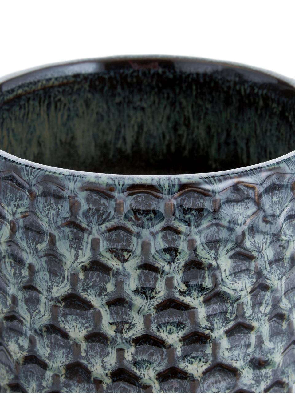 Mała ręcznie wykonana osłonka na doniczkę z kamionki Dela, Kamionka, Niebieski, beżowy, Ø 10 x W 10 cm