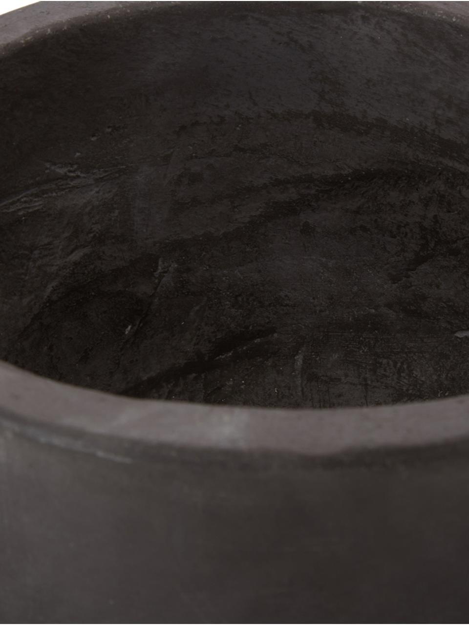 Duża osłonka na doniczkę z cementu Rom, Cement malowany, Czarny, Ø 23 x W 18 cm