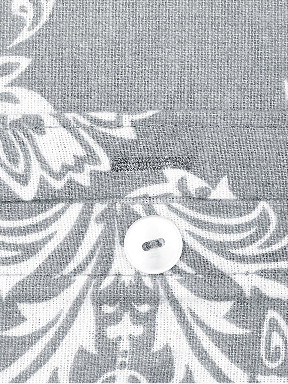 Flanell-Bettwäsche Sissi, gemustert, Webart: Flanell Flanell ist ein k, Grau, Weiß, 240 x 220 cm + 2 Kissen 80 x 80 cm