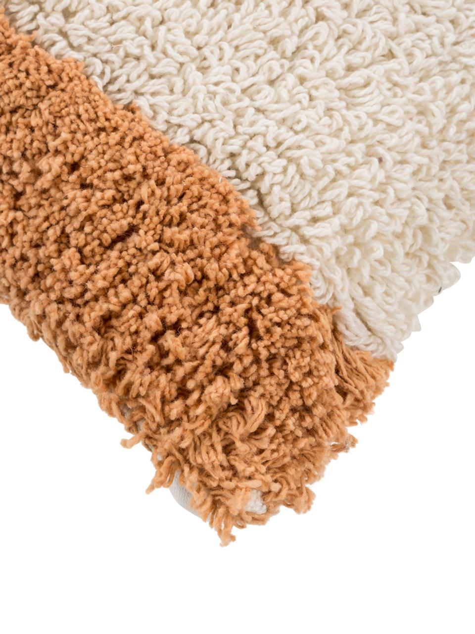 Pluizige kussenhoes Power met getuft oppervlak, Katoen, Oranje, gebroken wit, 30 x 50 cm