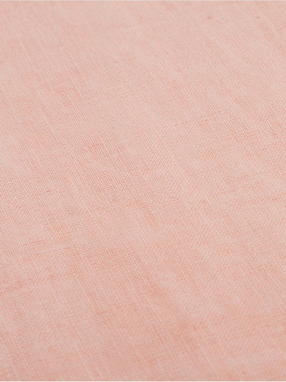 Runner in lino con frange Newin, Lino, Salmone, Larg. 45 x Lung. 150 cm