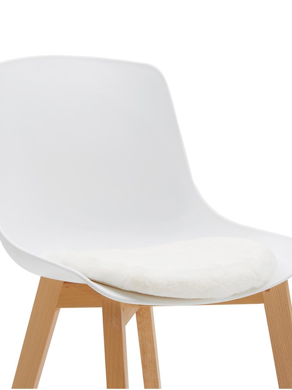 Runde Kunstfell-Sitzauflage Mette, glatt, Vorderseite: 100% Polyester, Rückseite: 100% Polyester, Creme, Ø 37 cm