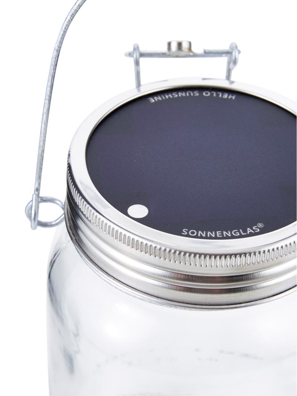 LED-Solarleuchte Sonnenglas, Behälter: Recyceltes Glas, Deckel: Edelstahl, Transparent, Edelstahl, Ø 12 x H 18 cm