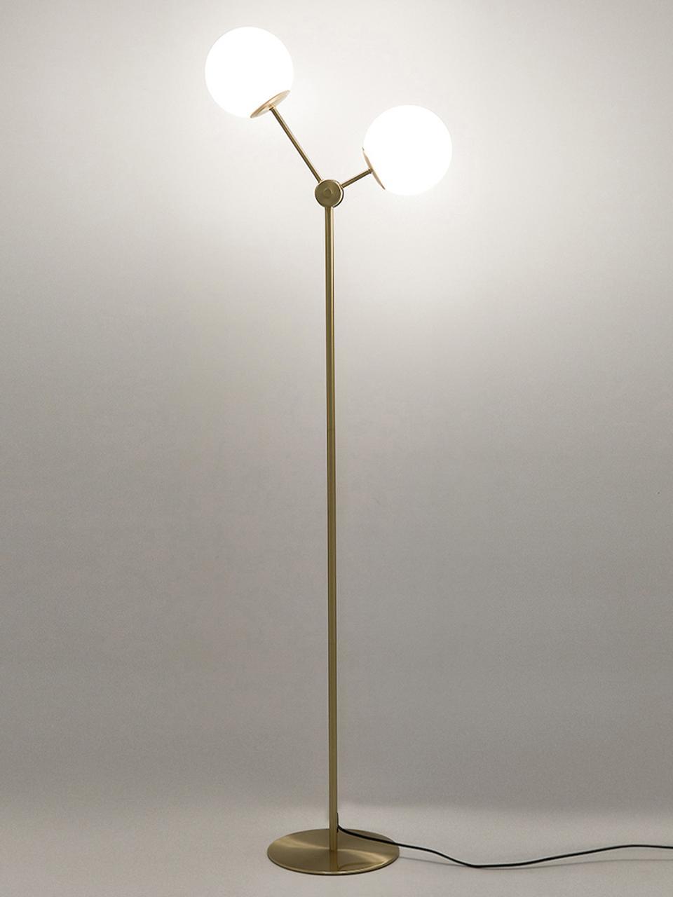 Stehlampe Aurelia aus Opalglas, Lampenfuß: Metall, vermessingt, Messing, Weiß, Ø 17 x H 155 cm