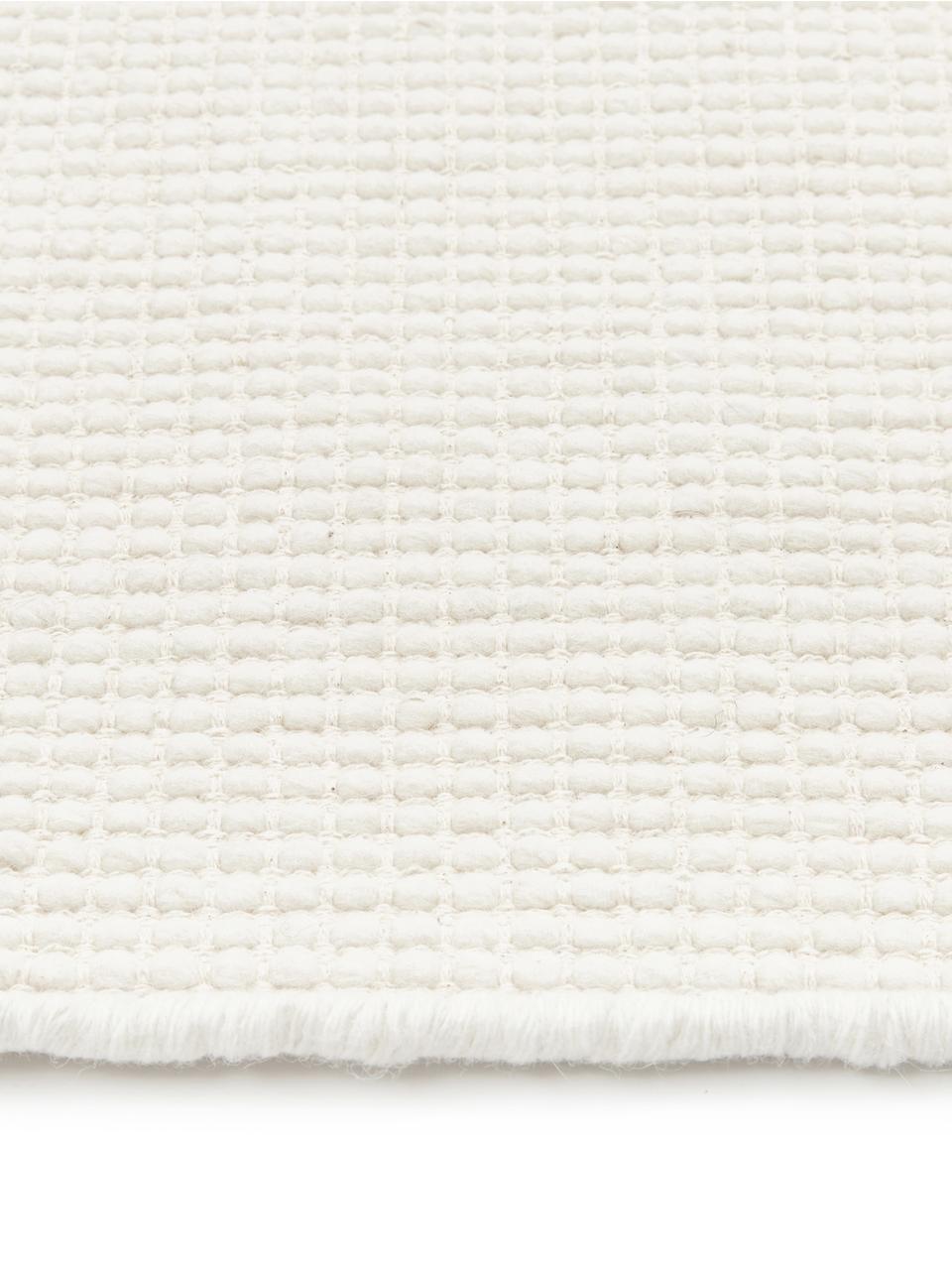 Handgewebter Wollläufer Amaro in Creme, 38% Wolle, 22% Polyester, 20% Baumwolle, 20% Polyamid, Cremeweiß, 80 x 250 cm