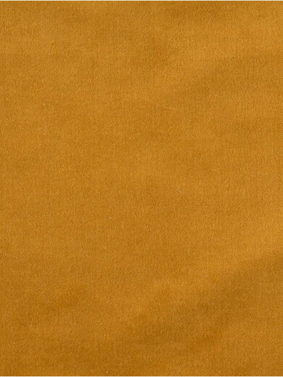 Samt-Kissenhülle Phoeby in Gelb mit Fransen, 100% Baumwolle, Gelb, 40 x 40 cm