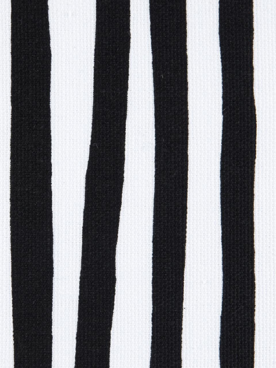 Housse de coussin à rayures Corey, Noir, blanc