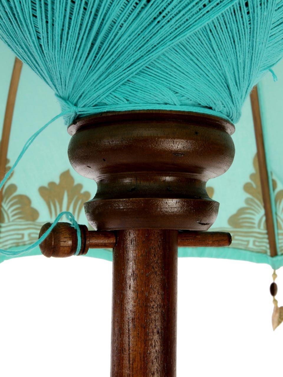 Parasol Oriental Lounge, Turquoise, couleur dorée, brun foncé