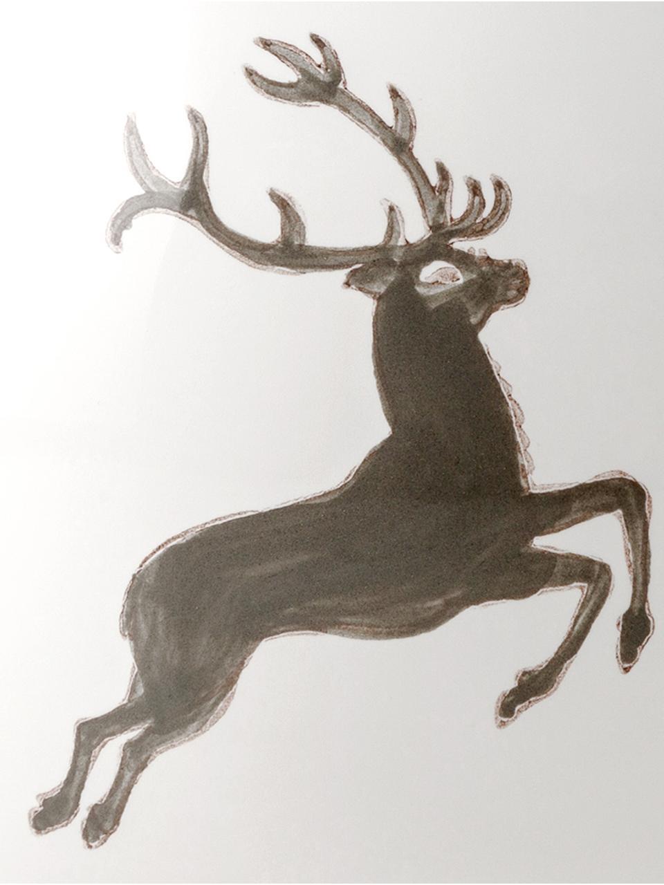 Handbeschilderde theepot Classic Grey Deer, Keramiek, Grijs, wit, 500 ml